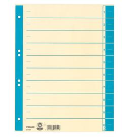 Trennblätter mit abschneidbaren Taben A4 240x300mm hellblau teilfarbig Karton Esselte 621020 (PACK=100 STÜCK) Produktbild
