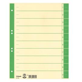 Trennblätter mit abschneidbaren Taben A4 240x300mm grün teilfarbig Karton Esselte 621022 (PACK=100 STÜCK) Produktbild