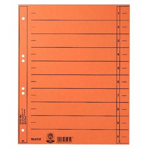 Trennblätter mit abschneidbaren Taben A4 240x300mm orange vollfarbig Karton Leitz 1658-00-45 Produktbild Front View L