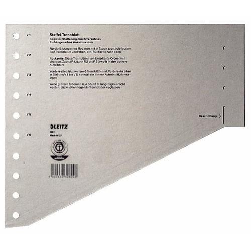 Staffel-Trennblätter mit abschneidbaren Taben A4 240x205mm grau vollfarbig Karton Leitz 1651-00-85 (PACK=100 STÜCK) Produktbild Front View L