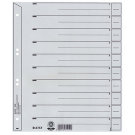 Trennblätter mit abschneidbaren Taben A4 240x300mm grau vollfarbig Karton Leitz 1650-00-85 (PACK=100 STÜCK) Produktbild