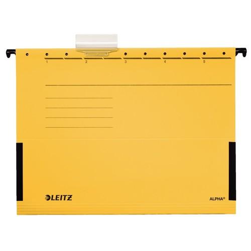 Hängetaschen ALPHA seitliche Frösche für ungelochte Unterlagen gelb Leitz 1986-30-15 (PACK=5 STÜCK) Produktbild