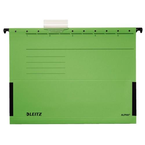 Hängetaschen ALPHA seitliche Frösche für ungelochte Unterlagen grün Leitz 1986-30-55 (PACK=5 STÜCK) Produktbild