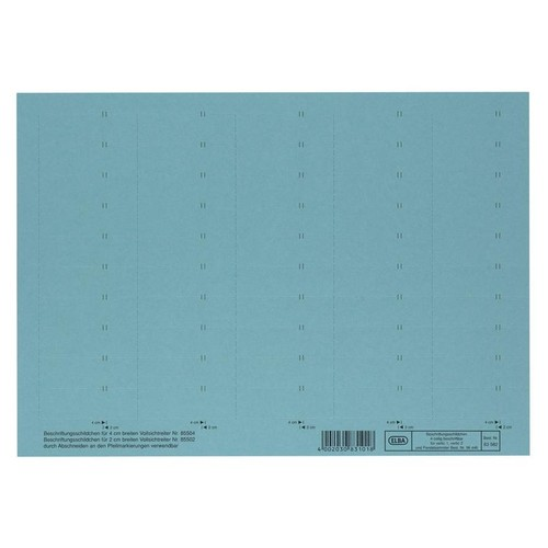Blanko-Schildchen für Hängemappen 58x18mm blau Elba 100552045 (BG=50 STÜCK) Produktbild Front View L