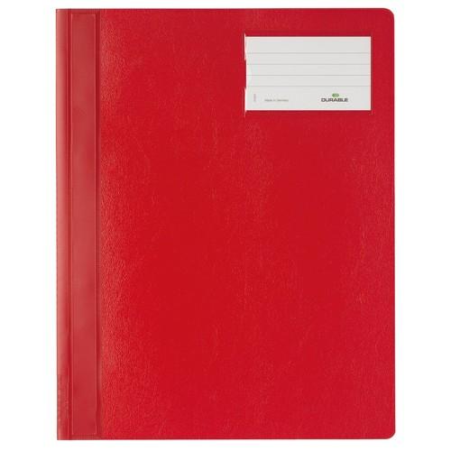 Schnellhefter opak A4 mit Beschriftungsfenster+Innentasche rot Durable 2500-03 Produktbild Front View L
