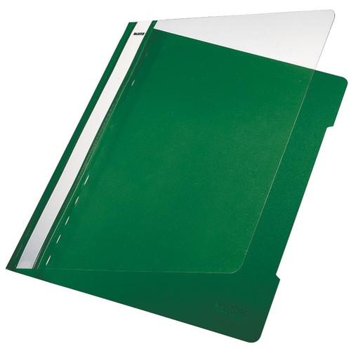 Schnellhefter Vorderdeckel transparent A4 grün PVC Leitz 4191-00-55 Produktbild Front View L