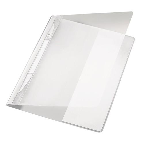 Schnellhefter Exquisit Vorderdeckel transparent A4 Längstasche im Rückdeckel weiß PVC Leitz 4194-00-01 Produktbild Front View L