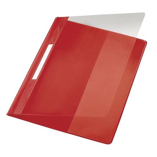 Schnellhefter Exquisit Vorderdeckel transparent A4 Längstasche im Rückdeckel rot PVC Leitz 4194-00-25 Produktbild Front View L