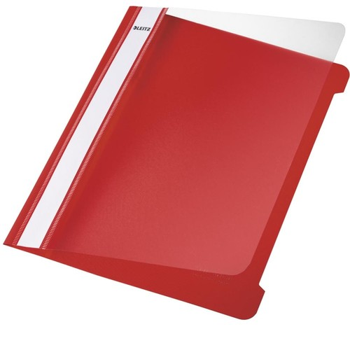 Schnellhefter Vorderdeckel transparent A5 rot PVC Leitz 4197-00-25 Produktbild Front View L