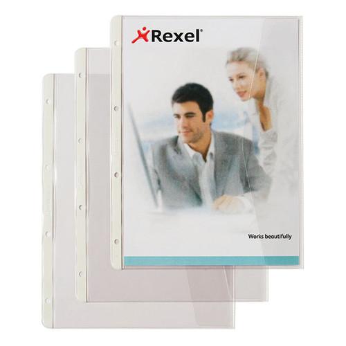Dokumentenhüllen mit Klappe A4 überbreit 180µ transparent Rexel 226784 (BTL=5 STÜCK) Produktbild Additional View 1 L