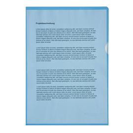 Sichthüllen oben + rechts offen A4 120µ blau PP genarbt Soennecken 1514 (PACK=100 STÜCK) Produktbild