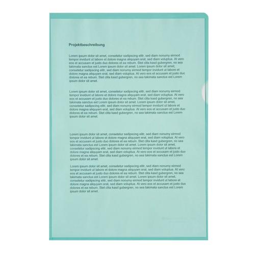 Sichthüllen oben + rechts offen A4 120µ grün PP genarbt (PACK=100 STÜCK) Produktbild Front View L