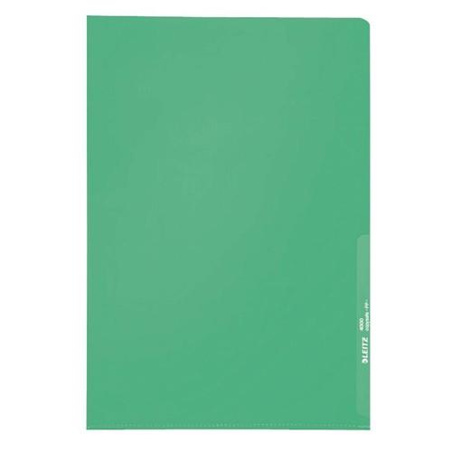 Sichthülle oben + rechts offen A4 130µ grün PP genarbt Leitz 4000-00-55 Produktbild Front View L