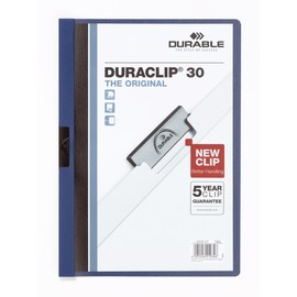 Klemmmappe Duraclip30 A4 bis 30Blatt dunkelblau Hartfolie Durable 2200-07 Produktbild