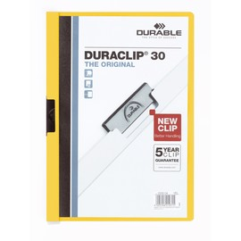 Klemmmappe Duraclip30 A4 bis 30Blatt gelb Hartfolie Durable 2200-04 Produktbild