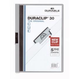 Klemmmappe Duraclip30 A4 bis 30Blatt grau Hartfolie Durable 2200-10 Produktbild