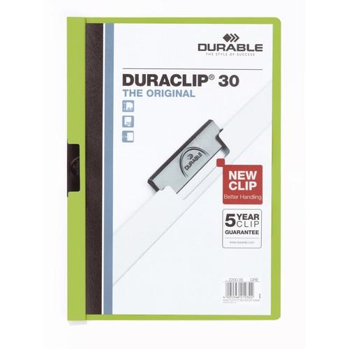 Klemmmappe Duraclip30 A4 bis 30Blatt grün Hartfolie Durable 2200-05 Produktbild