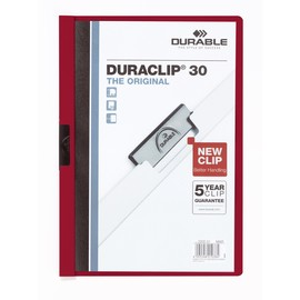 Klemmmappe Duraclip30 A4 bis 30Blatt aubergine/dunkelrot Hartfolie Durable 2200-31 Produktbild