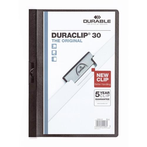 Klemmmappe Duraclip30 A4 bis 30Blatt schwarz Hartfolie Durable 2200-01 Produktbild