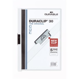 Klemmmappe Duraclip30 A4 bis 30Blatt weiß Hartfolie Durable 2200-02 Produktbild