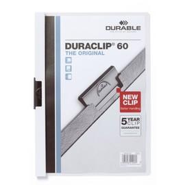 Klemmmappe Duraclip60 A4 bis 60Blatt weiß Hartfolie Durable 2209-02 Produktbild