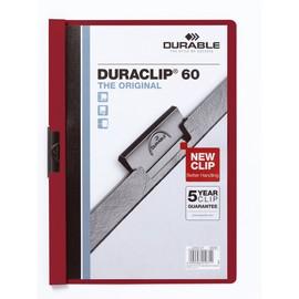 Klemmmappe Duraclip60 A4 bis 60Blatt aubergine/dunkelrot Hartfolie Durable 2209-31 Produktbild