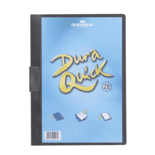Klemmmappe Duraquick A4 mit flachem, dauerelastischem Clip bis 20Blatt schwarz PP Durable 2270-01 Produktbild
