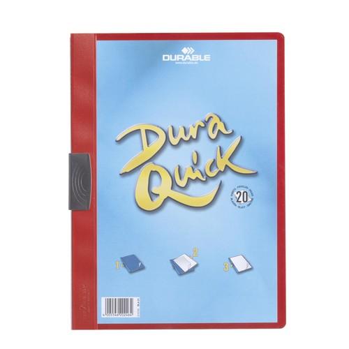 Klemmmappe Duraquick A4 mit flachem, dauerelastischem Clip bis 20Blatt rot PP Durable 2270-03 Produktbild