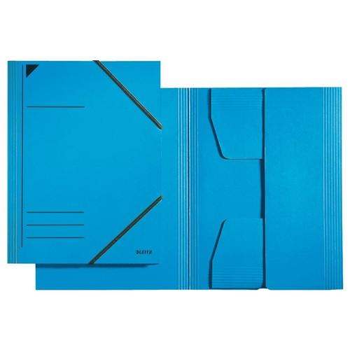Eckspanner mit 3 Klappen A4 für 250Blatt blau Karton Leitz 3981-00-35 Produktbild Front View L