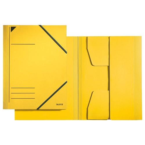 Eckspanner mit 3 Klappen A4 für 250Blatt gelb Karton Leitz 3981-00-15 Produktbild Front View L