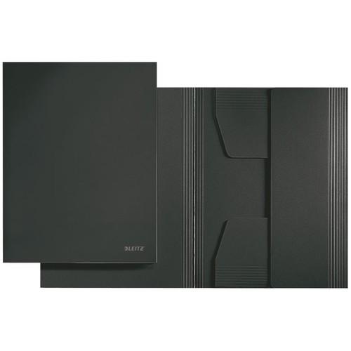 Jurismappe mit 3 Klappen A4 für 250Blatt schwarz Karton Leitz 3924-00-95 Produktbild