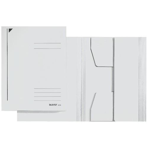 Jurismappe mit 3 Klappen A4 für 250Blatt weiß Karton Leitz 3924-00-01 Produktbild Front View L