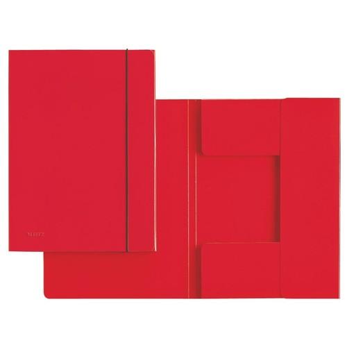 Sammelmappe mit 3 Klappen und Gummizug A4 bis 180Blatt rot Recycling Leitz 3926-00-25 Produktbild Front View L