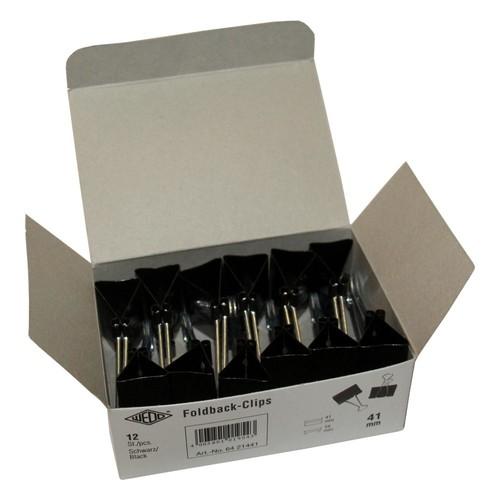 Foldbackklammern 40mm schwarz mit silbernem Bügel (PACK=12 STÜCK) Produktbild Additional View 1 L