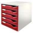 Schubladenbox 5 Schübe 285x290x355mm Gehäuse grau Schübe bordeaux Kunststoff Leitz 5280-00-28 Produktbild