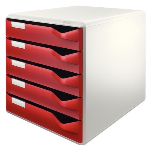 Schubladenbox 5 Schübe 285x290x355mm Gehäuse grau Schübe bordeaux Kunststoff Leitz 5280-00-28 Produktbild Front View L