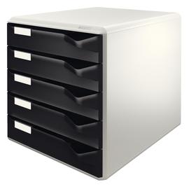 Schubladenbox 5 Schübe 285x290x355mm Gehäuse grau Schübe schwarz Kunststoff Leitz 5280-00-95 Produktbild