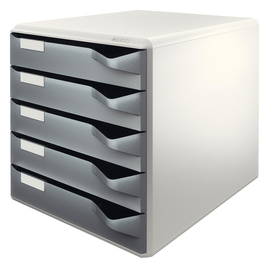 Schubladenbox 5 Schübe 285x290x355mm Gehäuse grau Schübe grau Kunststoff Leitz 5280-00-89 Produktbild