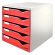 Schubladenbox 5 Schübe 285x290x355mm Gehäuse grau Schübe rot Kunststoff Leitz 5280-00-25 Produktbild