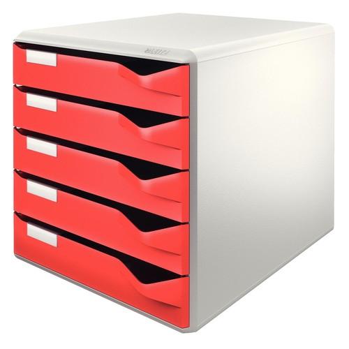 Schubladenbox 5 Schübe 285x290x355mm Gehäuse grau Schübe rot Kunststoff Leitz 5280-00-25 Produktbild Front View L