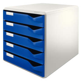 Schubladenbox 5 Schübe 285x290x355mm Gehäuse grau Schübe blau Kunststoff Leitz 5280-00-35 Produktbild