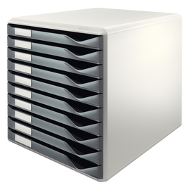 Schubladenbox 10 Schübe 285x290x355mm Gehäuse grau Schübe grau Kunststoff Leitz 5281-00-89 Produktbild