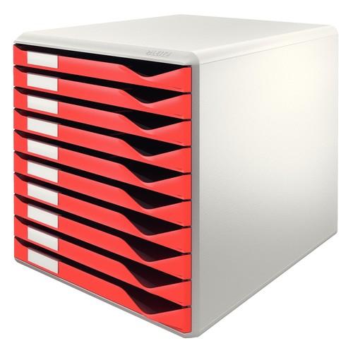 Schubladenbox 10 Schübe 285x290x355mm Gehäuse grau Schübe rot Kunststoff Leitz 5281-00-25 Produktbild Front View L