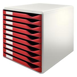 Schubladenbox 10 Schübe 285x290x355mm Gehäuse grau Schübe bordeaux Kunststoff Leitz 5281-00-28 Produktbild