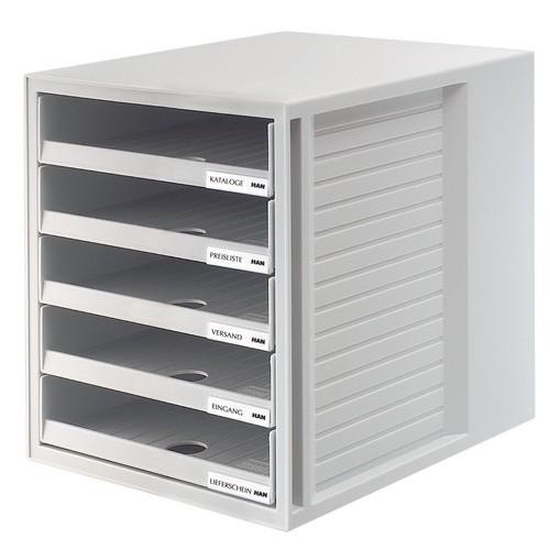 Schubladenbox 5 Schübe offen 275x330x320mm lichtgrau Kunststoff HAN 1401-11 Produktbild
