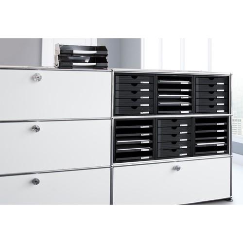 Schubladenbox 5 Schübe offen 275x330x320mm schwarz Kunststoff HAN 1401-13 Produktbild Additional View 3 L