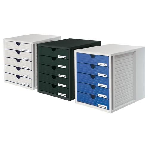 Schubladenbox Systembox 5 Schübe 275x320x330mm lichtgrau Kunststoff HAN 1450-11 Produktbild Additional View 1 L