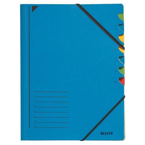 Ordnungsmappe mit Gummizug A4 mit 7 Fächern blau Karton Leitz 3907-00-35 Produktbild Front View L