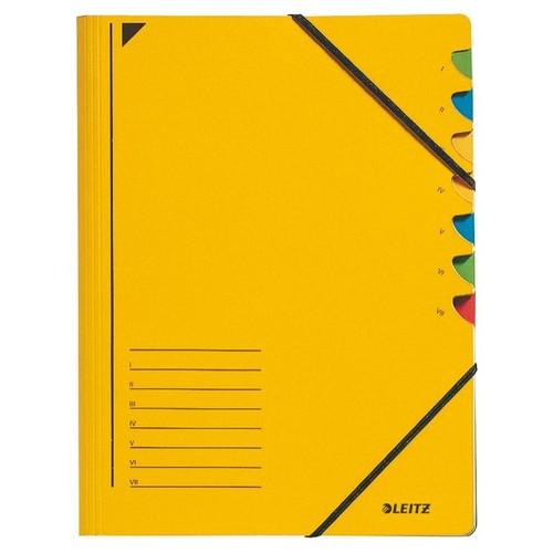 Ordnungsmappe mit Gummizug A4 mit 7 Fächern gelb Karton Leitz 3907-00-15 Produktbild Front View L