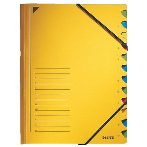 Ordnungsmappe mit Gummizug A4 mit 12 Fächern gelb Karton Leitz 3912-00-15 Produktbild Front View L